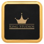 Leatherette Square Coaster with Gold Edge -Black Boss Gift Awards