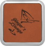 Leatherette Square Coaster with Silver Edge -Rawhide Employee Awards