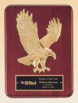 Rosewood Piano Finish Plaque with Gold Eagle Casting Patriotic Awards
