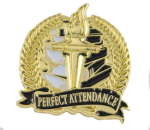 Bright Gold Academic Perfect Attendance Lapel Pin Scholastic Trophy Awards