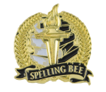 Bright Gold Academic Spelling Bee Lapel Pin Scholastic Trophy Awards
