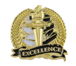 Bright Gold Academic Excellence Lapel Pin Scholastic Trophy Awards